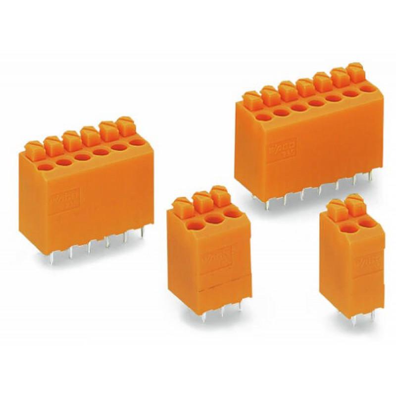 735-126 BORNE PCB COM BOTAO DE PRESSAO 6 POLOS 1,5MM LARANJA